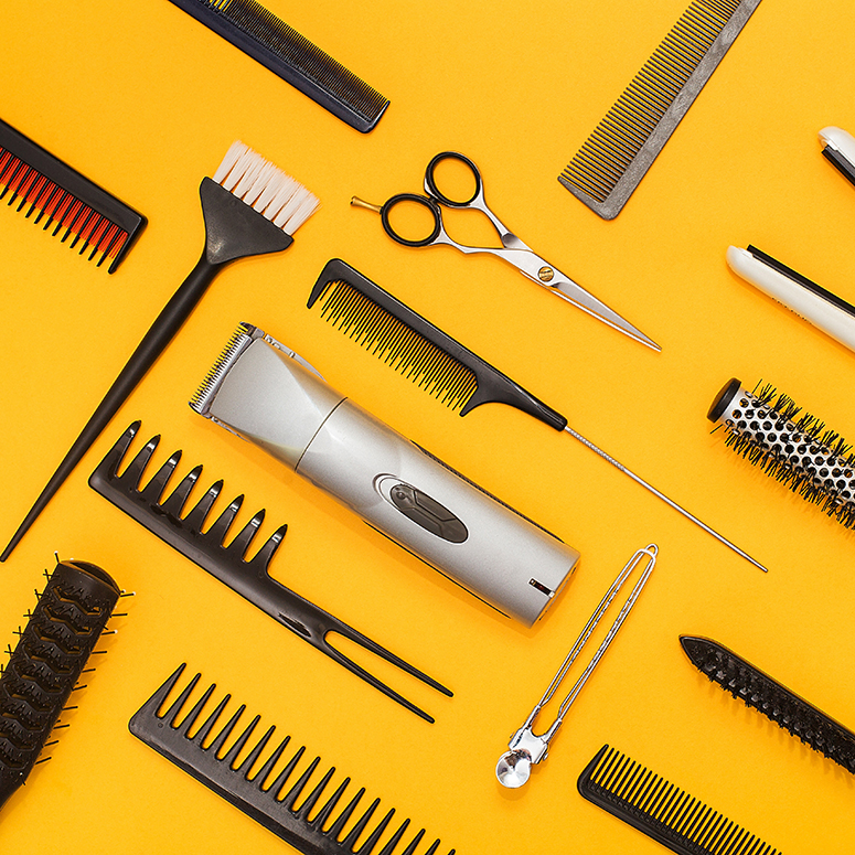 hair-tools-on-yellow-background