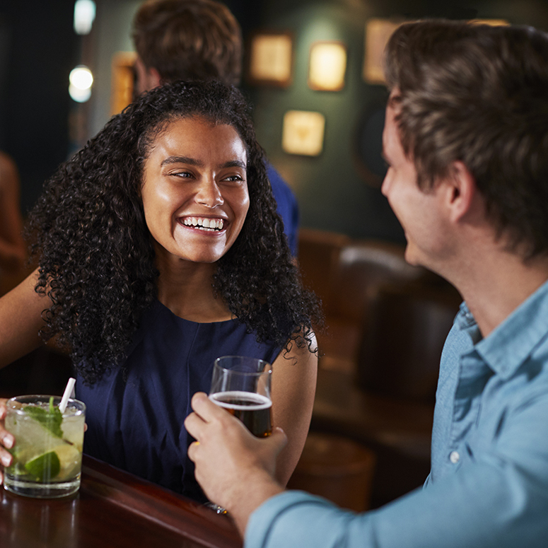Couple On Date in a pub