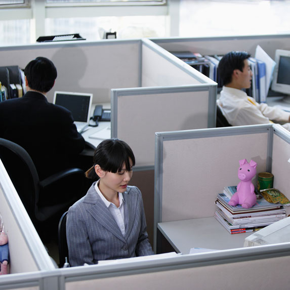 office workers in cubicals