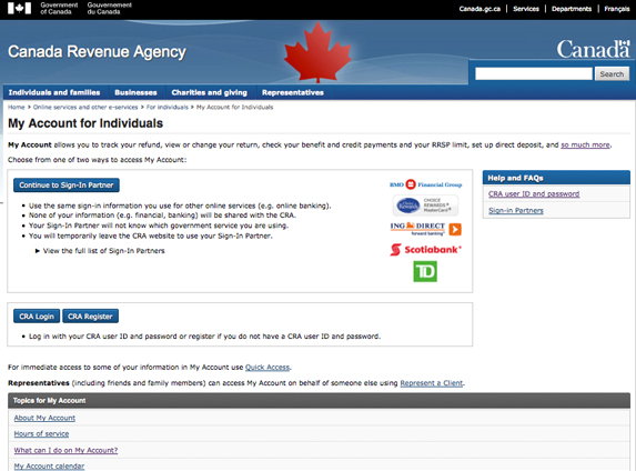 Register for CRA's My Account