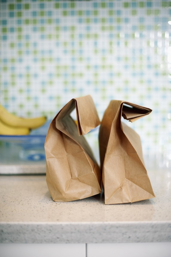paper bag lunches on table