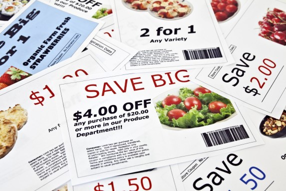 stack of coupons