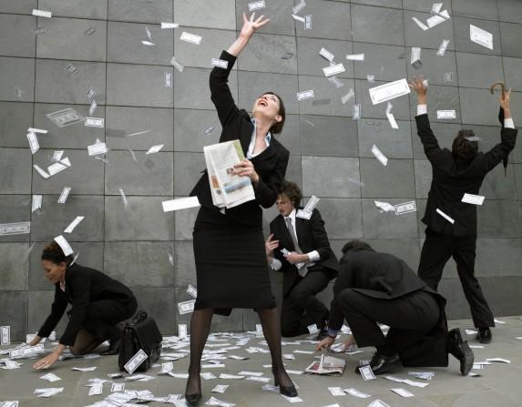 woman throwing money