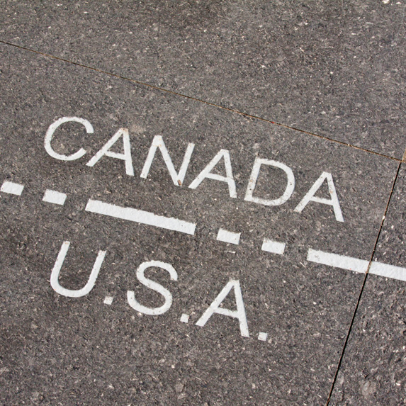 A line demarking the Canada-USA border