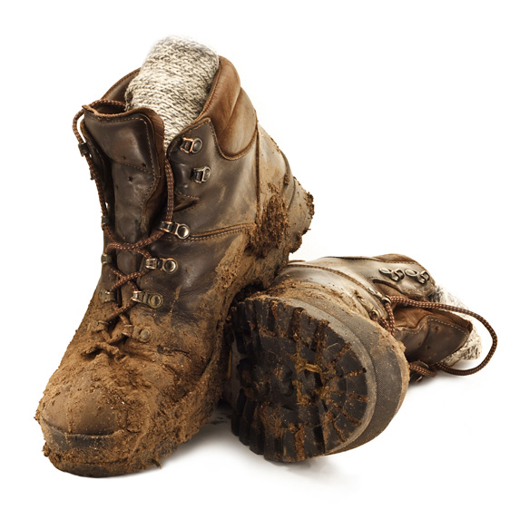 Wearing or carrying dirty hiking boots