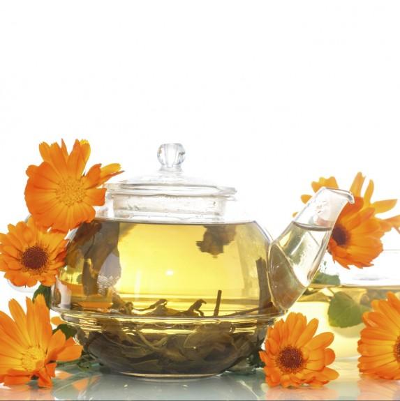 Potted of steeped calendula tea