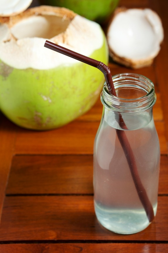 Clear glass of coconut water