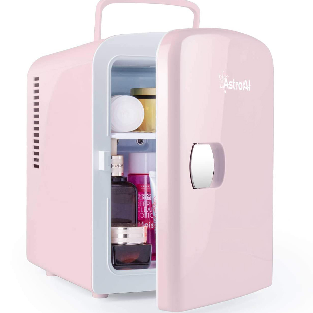 small pink cosmetic fridge