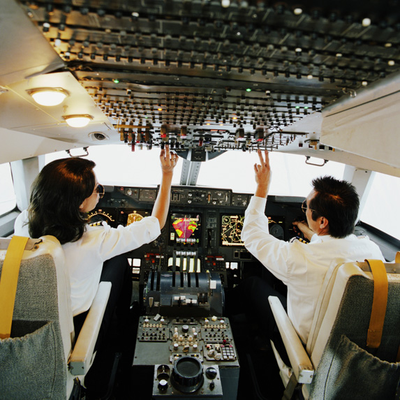 pilots flying the plane