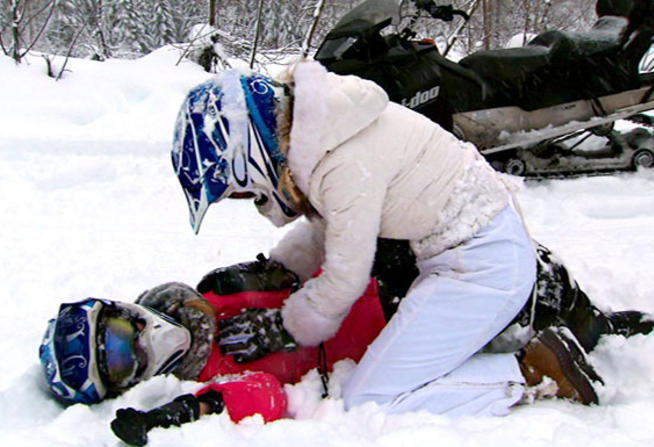 A Real Housewife wipes out on a skiing trip in Whistler