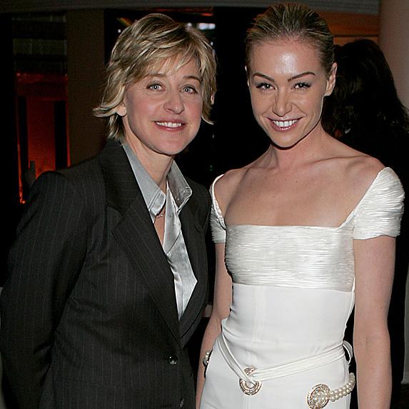 Ellen DeGeneres and Portia de Rossi younger