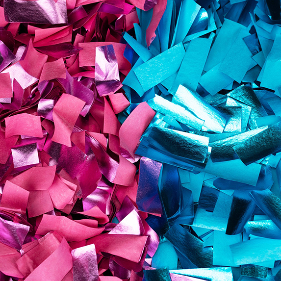 Gender reveal confetti, for boy and girl, pink and blue