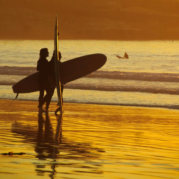 Surfing near San Diego, California