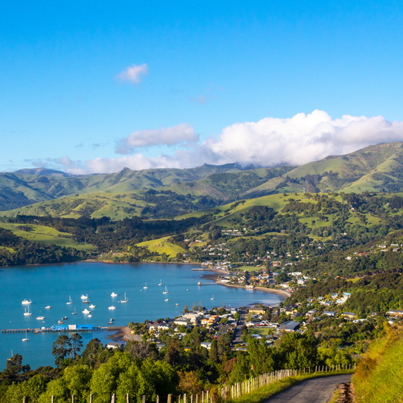 Akaroa scenic view, Banks peninsula, South Island, New Zealand