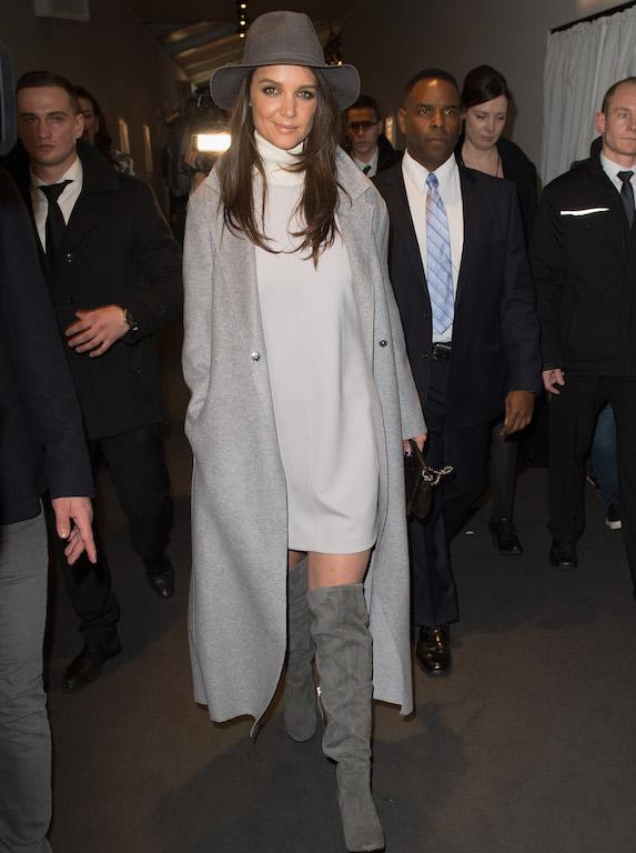 Katie Holmes wears an oversized cardigan