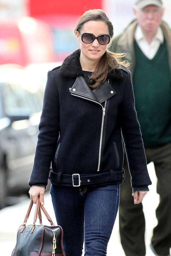 Pippa Middleton wears a black jacket