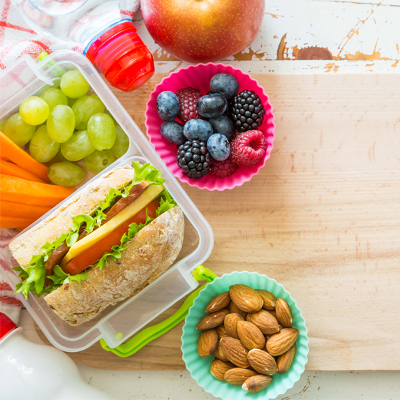 sandwich and fruit packed in container