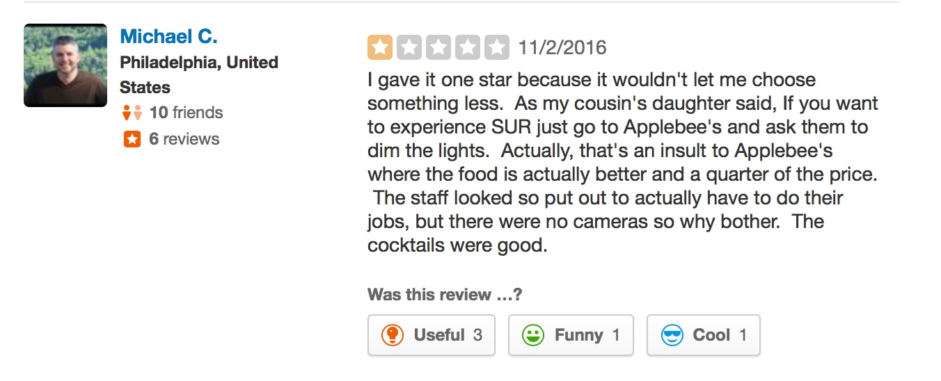 """""""This place is heinous"""": The Funniest SUR Reviews on Yelp"""