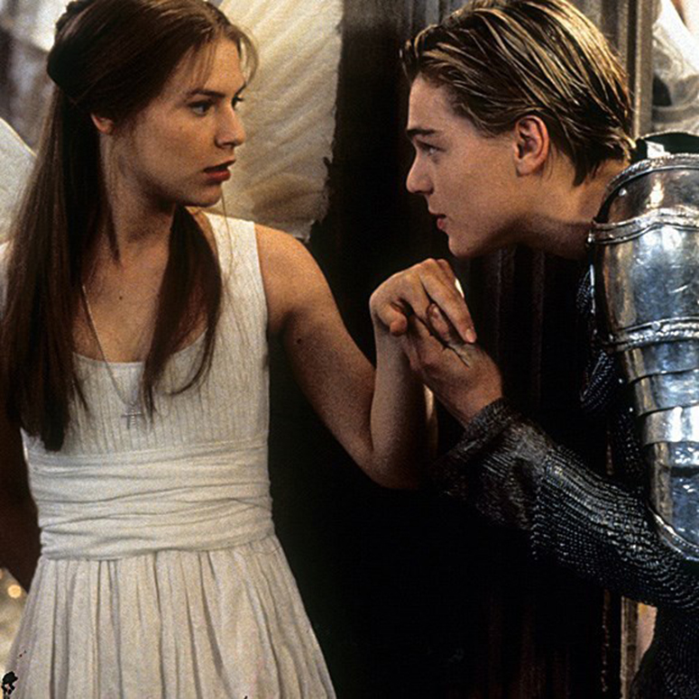 Claire Danes and Leonardo DiCaprio in Romeo and Juliet in their moment of meeting