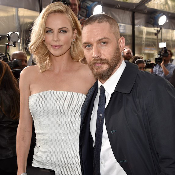 Charlize Theron and Tom Hardy at a Mad Max premiere