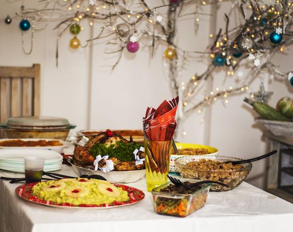 potluck-holiday-dinner-spread