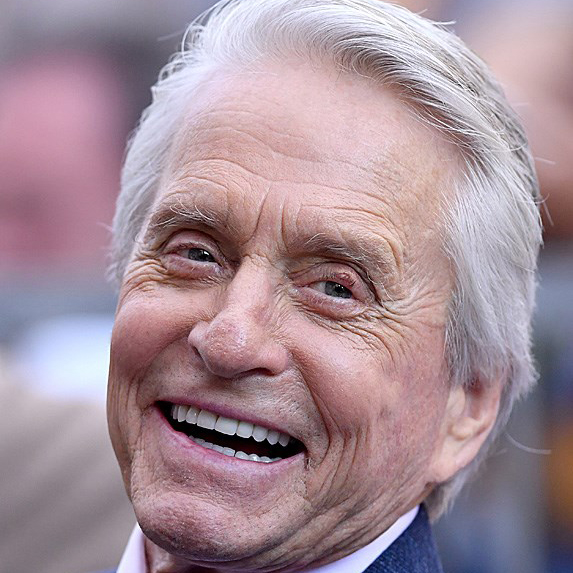 Michael Douglas getting his star on the Hollywood Walk of Fame in 2018