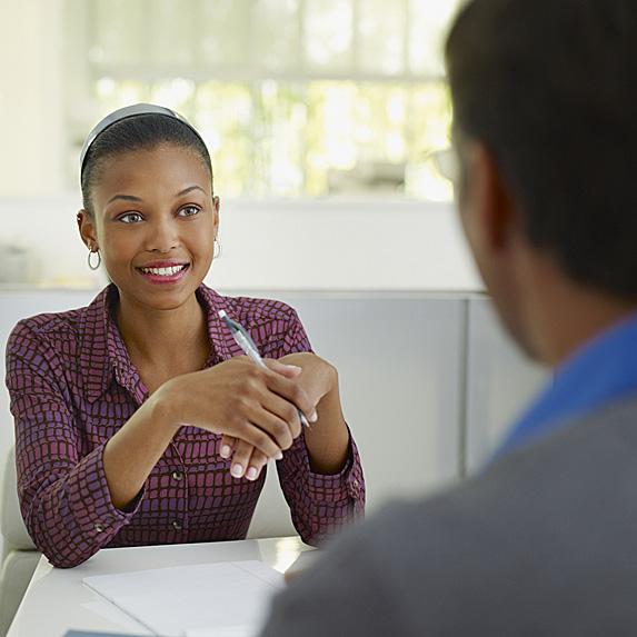 Smiling corporate recruiter