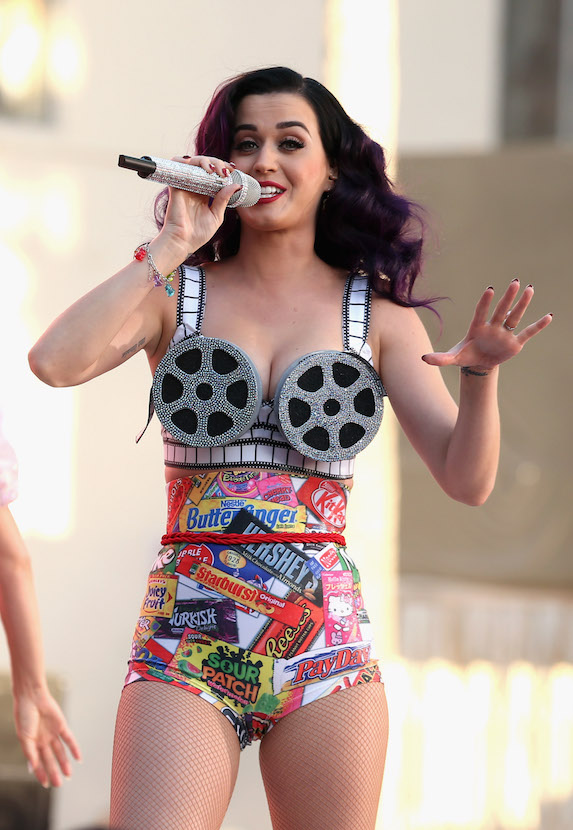 Katy Perry wears wacky bra top made from film reels