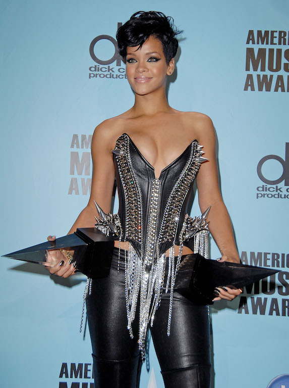Rihanna weird outfit with leather and spikes