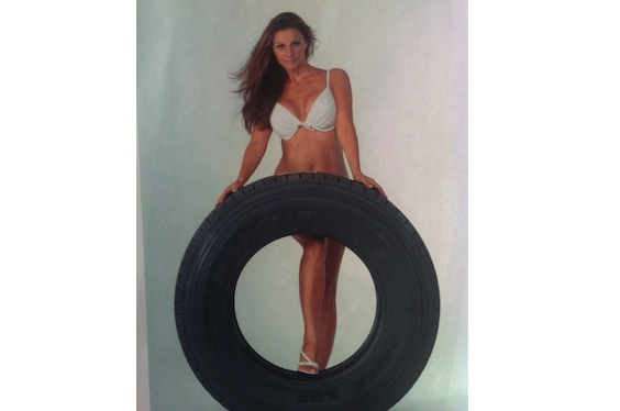 Joan with tire