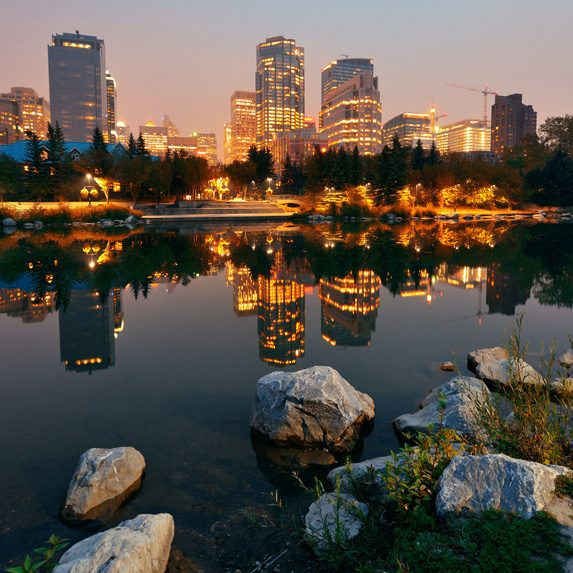 Stunning view of Calgary in the evening