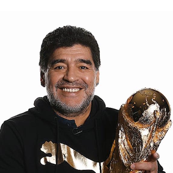 Diego Maradona with trophy