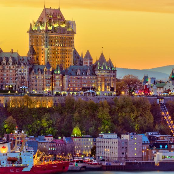 Quebec City's skyline at dusk