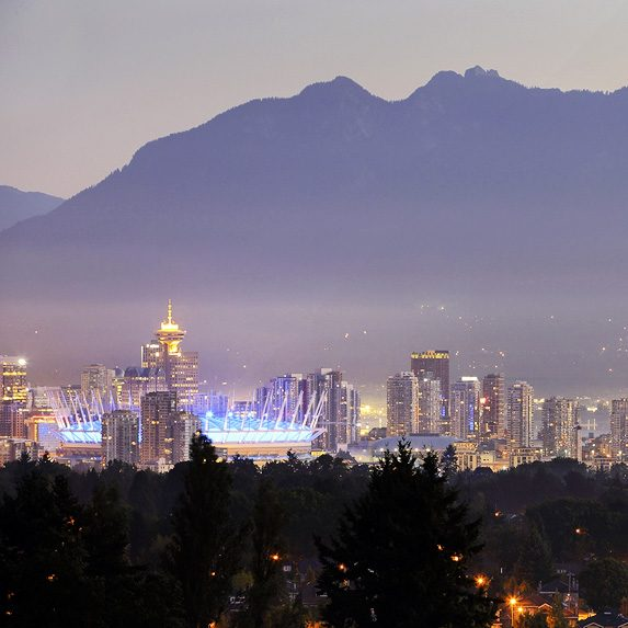 Downtown Vancouver framed by the North Shore mountains