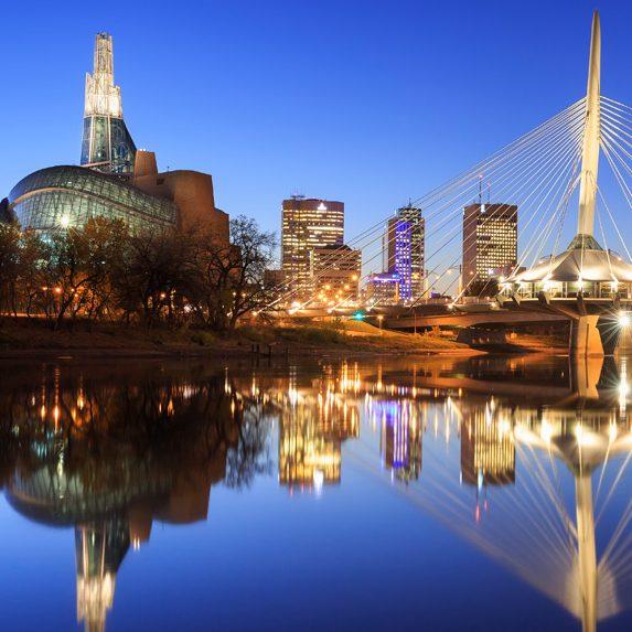 Winnipeg's downtown at dusk