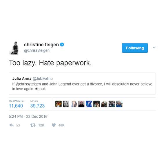 Chrissy Teigen will never divorce John Legend