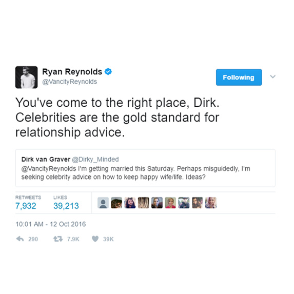 Don't get relationship advice from Ryan Reynolds