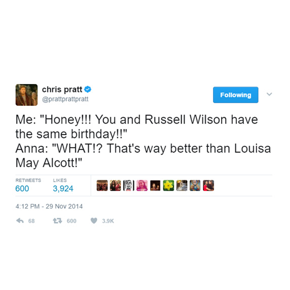 Anna Faris would rather share a bday with Russell Wilson than a classic author