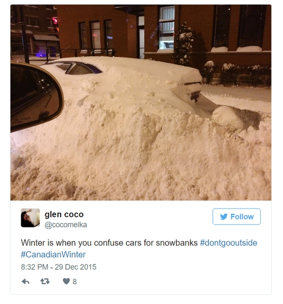 """""""And this snowbank gets an impressive 52km to the gallon."""""""