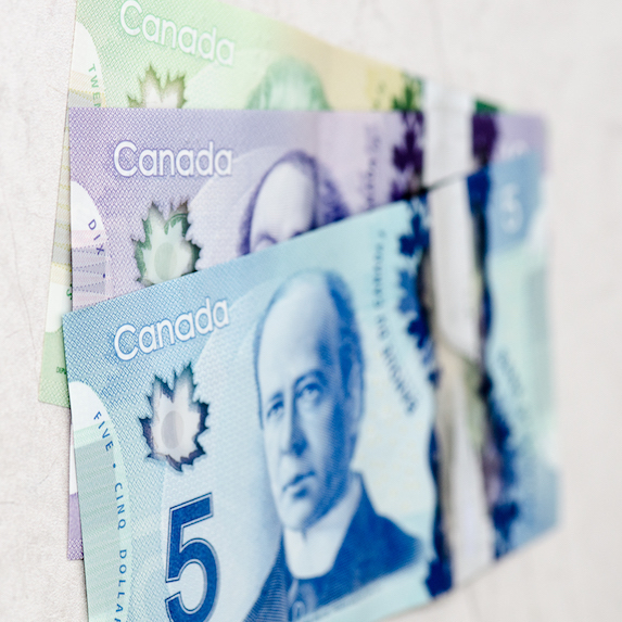 Various denominations of Canadian money