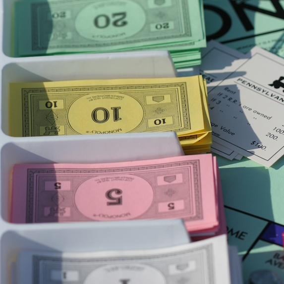 Colourful Monopoly money
