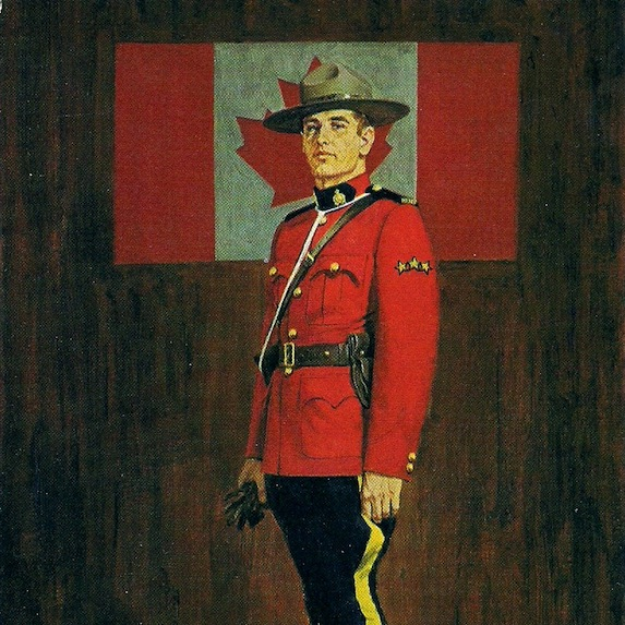 Mountie and Canadian flag