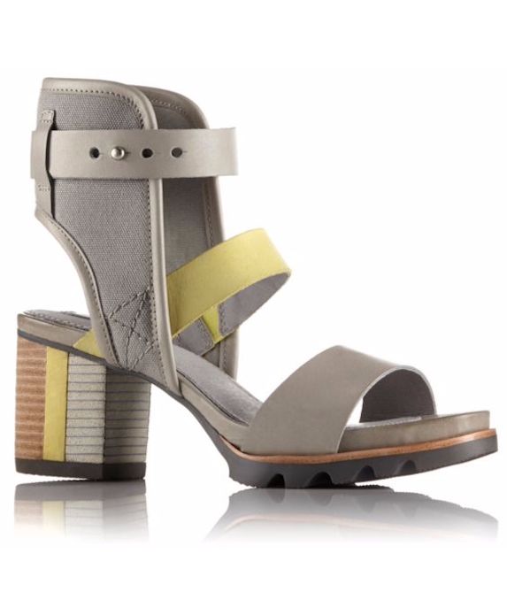 Grey and yellow block-heel sandals