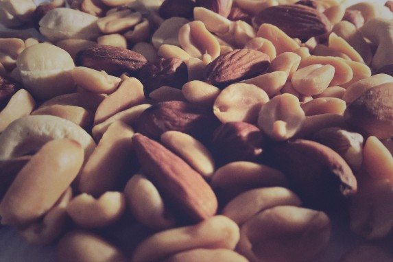 Close up of Brazil nuts.