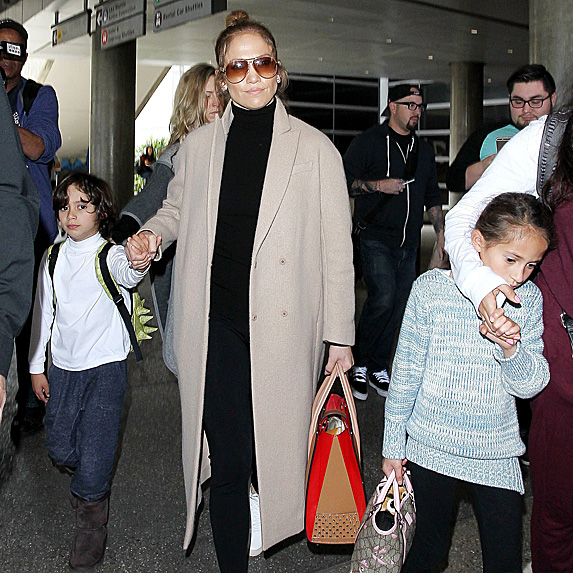 J.Lo walking with her son and daughter
