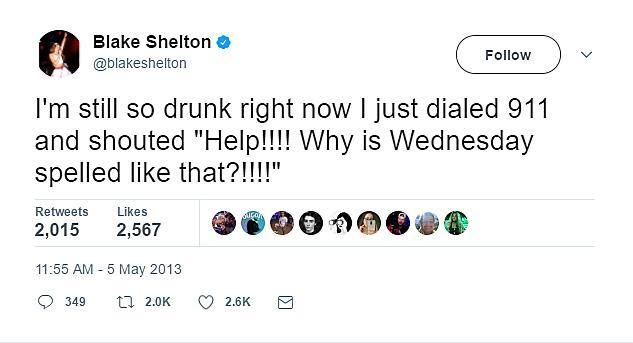 Blake Shelton drunk-tweeted 911