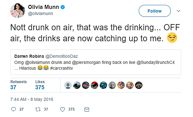 Olivia Munn wasn't drunk on-air but after the fact ...