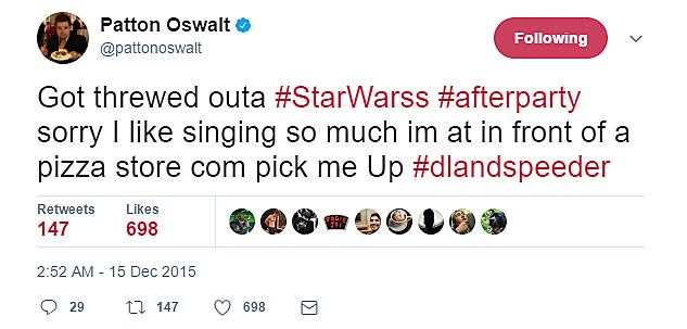 Patton Oswalt's tweet has loads of spelling mistakes