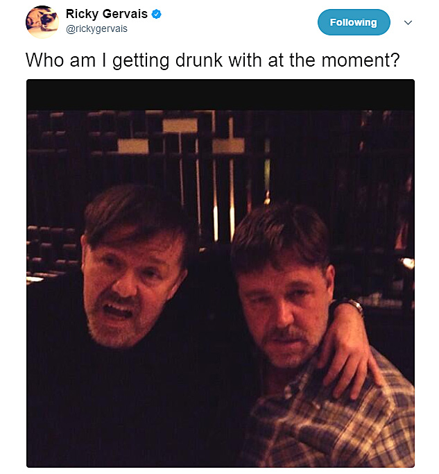 Ricky Gervais and Russell Crowe are wasted
