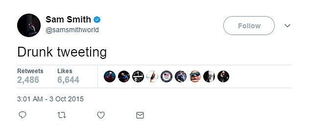 Sam Smith admits to drunk tweeting